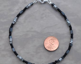 Black Silver and Gray Hematite Anklet