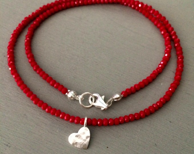 Tiny Red crystal choker necklace with Sterling Silver hammered heart pendant