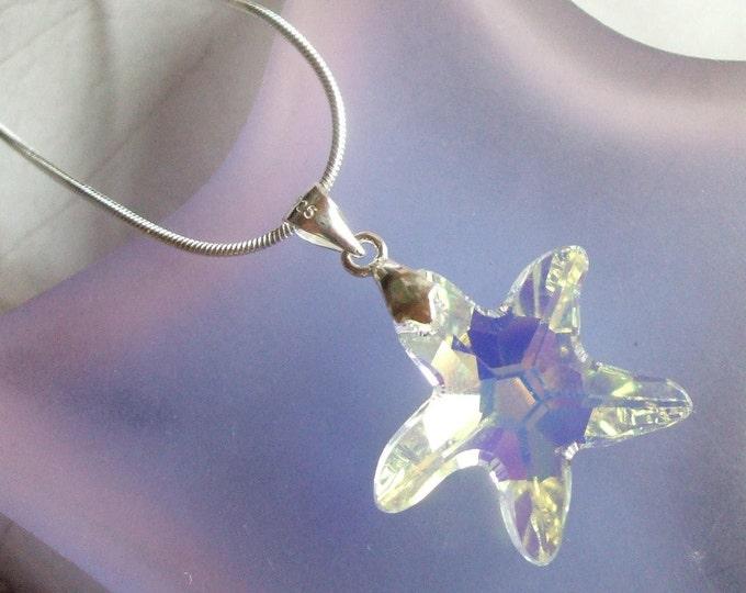 AB Swarovski Crystal seastar Necklace Sterling Silver