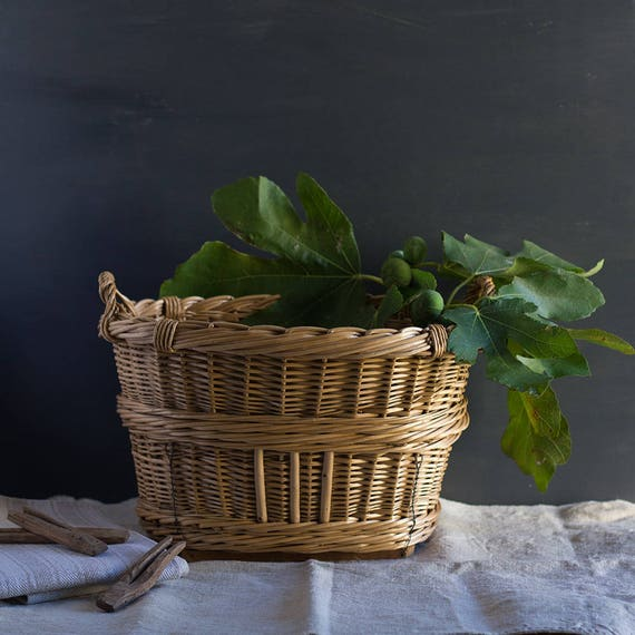 Tall French Laundry & Picnic Footed Basket