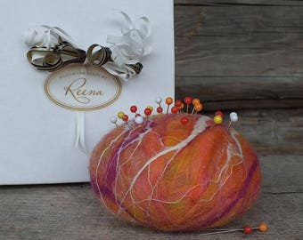 Felted Pin Cushion, Felted Wool Pincushion with Pins, Modern Felt Pin Cushion, Orange Wool Pincushion