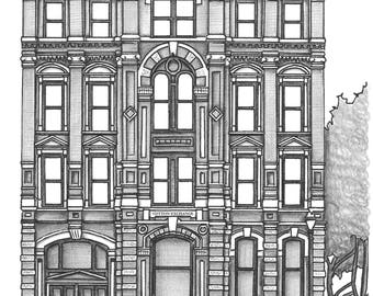Custom Handdrawn Building Drawing in Pen and Pencil