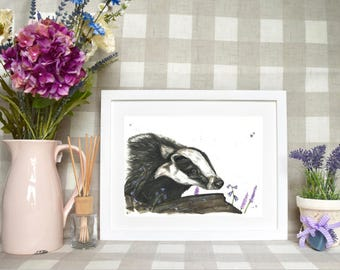 Limited edition 'Basil the badger' print