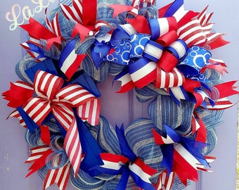 4th of July Front Door Wreath - Patriotic Wreath - Red, White, & Blue Decoration - Summer Wreath - 4th of July Decor - July 4th Wreath