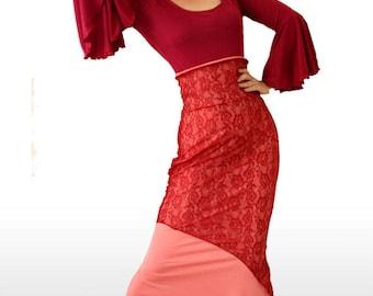 Dark Red Flamenco Costume! Ready to wear, size L. Dance skirt, Spanish Skirt, Maxi skirt. Frill top, Dance Show skirt, Lace skirt