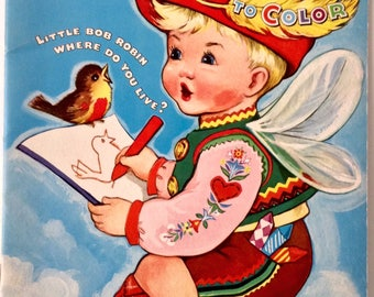 Vintage Coloring Book of Nursery Rhymes