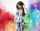 Rainbow Baby Pregnancy Photo Scene in Studio with Colorful Smoke Bomb Colors, Photography Digital Backdrop Background, Maternity or Baby