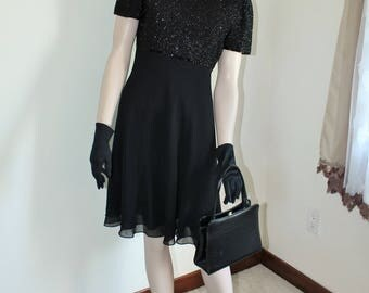 Black Beaded Dress by Laurence Kazar Size Medium 1980s Short Formal