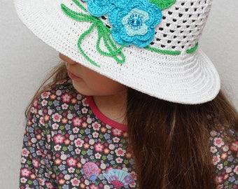 Floral Crochet summer hat Girls sun hat flowers summer hat wide brim hat kids hat girls hats Beach hat white sun hat natural cotton hat
