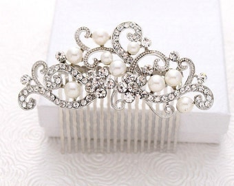 Bridal Comb - Wedding Hair Comb - Bridal Hair Pin - Bridal Hair Accessory - Rhinestone Comb - Bridal Hair Piece - Crystal Pearl Hair Comb
