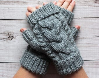 handknit gray mittens, woolen fingerless gloves, winter gloves, driving gloves, cable gloves, MADE TO ORDER