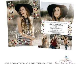 Graduation Announcement Template - 5x7 Digital Photography Photoshop Files - Template for Photographers - 5 pictures or photos- GC16