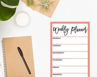 Weekly To Do List Notepad / Weekly Agenda /Weekly Planner Notepad / Weekly Notepad / Calendar Notepad / Weekly Schedule / Planner Pad / Pink