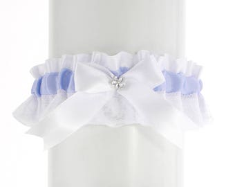 Bridal wedding garter white blue lace, garter wedding, vintage, wedding lingerie, handmade garter is stretching, bride garter, puppy PP3