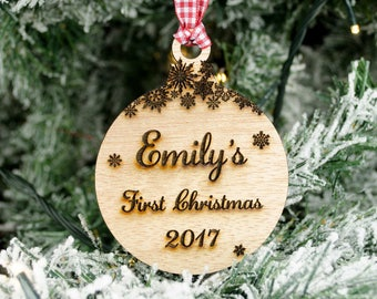 Baby's First Christmas Bauble. Personalised Wooden Xmas Tree Decoration.  Meranti Hardwood Laser Engraved Snowflakes. Newborn Birth Gift.