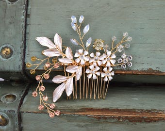 Floral Bridal Hair Comb, Gold Wedding Hair Comb,  Rhinestone Wedding Headpiece, Rose Gold Floral Bridal Side Comb, CO-004