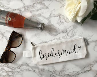 Bridesmaid Small Zipper Pouch | Maid of Honor Pouch | Bridesmaid Proposal | Ask Bridesmaid Gift | Asking Maid of Honor | Small Makeup Bag