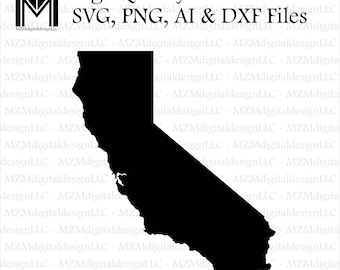 California svg, png, ai and dxf Files -For Commercial & Personal Use- SVG for Cricut Silhouette and Cameo - Vinyl file - Cali Home State