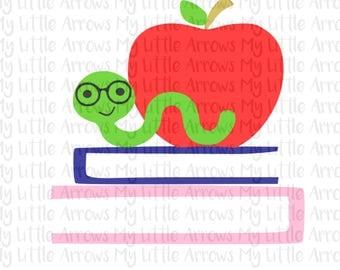 Bookworm svg - apple svg - school svg - SVG DXF EPS png files - first day of school svg - teacher svg - apple dxf - books svg