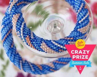 Blue beige necklace Strip necklace Bead crochet rope Seed bead necklace Beaded necklace