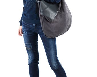 Suede Leather Bag, Big Suede Leather Bag, Grey Suede Leather Bag, Genuine Suede Bag, Genuine Shoulder Bag, Suede Handbag, Grey Suede Handbag