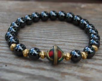 Magnetic Bracelet,Hematite Beads Bracelet,Coral Brass focal Bead,Man,Woman,health,Healing,Relieve,Protection,Meditation,Yoga,Good Luck,Boho