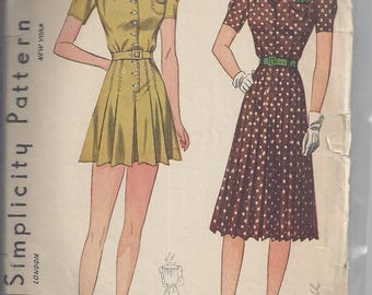 Vintage Simplicity Pattern # 3304 from 1930's  Misses Playsuit and Skirt