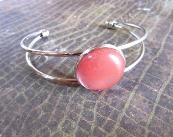 Rose Quartz Bracelet, Rose Quartz Cuff Bracelet, Healing Crystal Bracelet, Tumbled Rose Quartz Jewelry, Stainless Steel Bracelet Rose Quartz