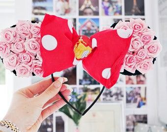 Mickey Mouse Ears Minnie Red Polka Dot Bow ft. Belle Beauty and the Beast Headband