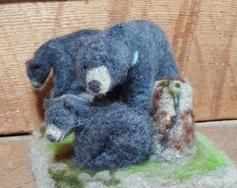 Needlefelted Black bear and cubs