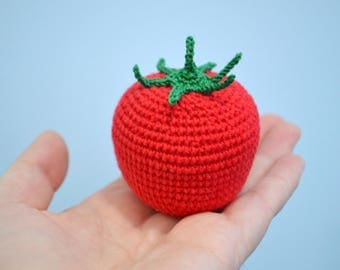 1pcs Tomato, Crochet Vegetables, Play Food, Busy Toddler Toy, Montessori Toy, Eco friendly Toy, Organic Toys, Educational Toy, Gift Idea
