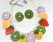 Fruit Salad Necklace With Sparkly Tropical Pineapples, Kiwi, Dragonfruit, Oranges, and Strawberries. 50s, 60s, Pinup, VLV, Carmen Miranda