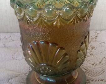Westmoreland green carnival glass pedestal bowl