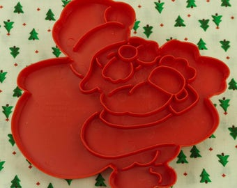 1978 Wilton Red Santa Plastic Imprint Christmas Cookie Cutter Hong Kong