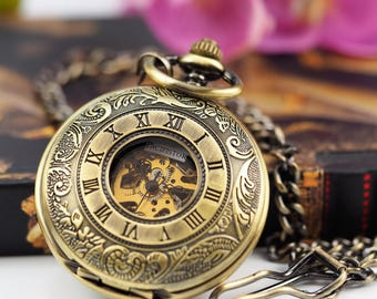 Custom Engraved Bronze Skeleton Pocket Watch - Gift Boxed PW-16-M
