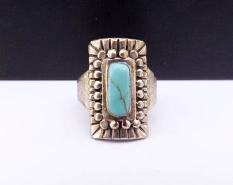 Southwest Mexico Sterling Silver 925 Turquoise Ring Artist Signed ATI Vintage Native Style Tribal Bead Aztec Signed Size 7