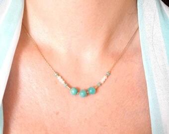 Amazonite Necklace / Short Minimalist Necklace / Gemstone Bar Boho Necklace / Blue Beaded Necklace / Thin Layering Necklace / Gift for her