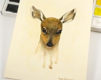 Deer Original Watercolor Painting by Yana Khachikyan