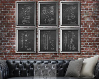 Water Ski decor set of 6 art prints chalkboard background art prints, Water Sports decor, Water Skiing pictures, Boating Decor
