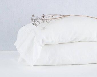 Ruffled linen pillowcases, custom size pillowcase, linen pillow cover, linen pillow case with ruffles. Ruffle linen bedding.