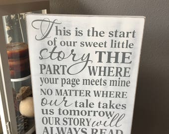 This Is The Start Of Our Sweet Little Story, Wedding Sign, Story Will Always Read Love