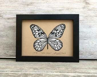 Rice Paper Butterfly Linocut Print - Monochrome