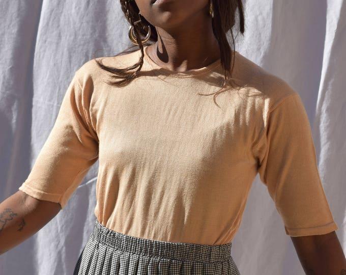 Pastel Peach Silk T-shirt