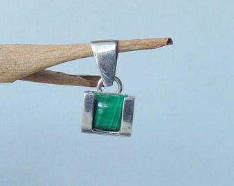 Vintage Malachite  Sterling Silver Pendant Necklace, Malachite  Modernist Green Pendant Necklace, Silver Malachite Minimalist Jewelry 925
