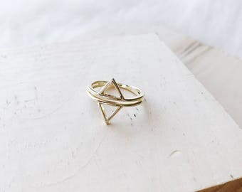 R1045 - New Double Split Triangle Gold Plated Sterling Silver Size 6 Ring