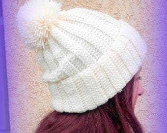 Off white ecru Hat hand crochet knit tassel is hand made in France Unique