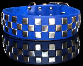 THE CHECKERBOARD handmade leather dog collar w/ flat spots set in checkerboard pattern, by Picasso Collars