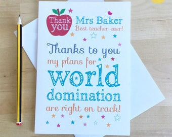 Teacher Thank You Card, Personalised Thank You Card for Teacher, End of School Year Thank You Card, End of Term Teacher Card, Teacher Gift