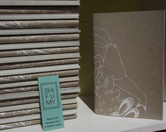 KRILL - screen printing - cardboard and recycled paper notebook - handmade - sea SHIFUMY design - coloring - zen