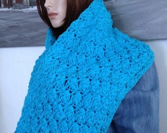 Oversized Scarf, Huge Cowl Turquoise Blue Infinity Scarf Stretchy Extra Wide Cowl Blue Scarf for Her Versatile Winter Cowl READY TO SHIP